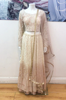 Light peach 3 piece lengha choli