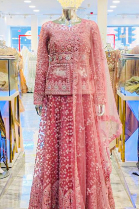 Pink 3 piece net embroidered lengha suit