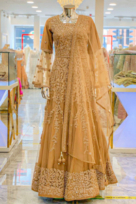 Brown long embroidered dress