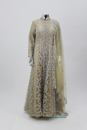 Long cream luxury embroidered gown