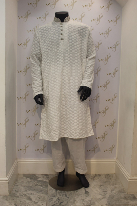 Chicken mens white shalwar kameez with silver embroidered colar