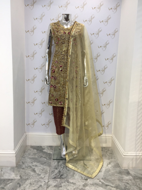 Elegant 3 piece luxury embroidered gold and red suit