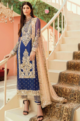 Blue 3pcs embroidery suit