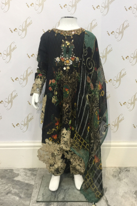 Kids Black Luxury Digital Printed Front Embroided Patch Work Lawn Dress