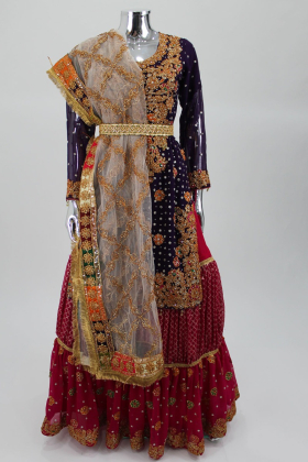 Purple luxury embroidered lengha suit by IVANA