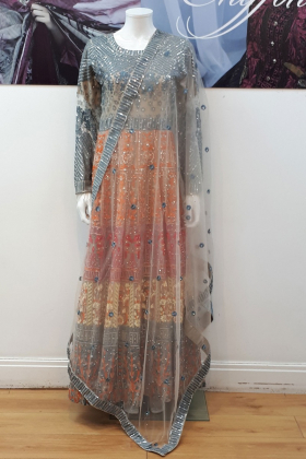 Ivana beige and grey luxury embroidered long dress