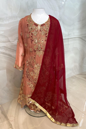 Kids Ivana 3 piece luxury embroidered chiffon gharara suit in peach and pin