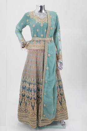 Light Green luxury embroidered lengha suit by IVANA