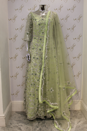 Green Wedding And Party Outfit With Heavy Silver Gotta Work And Diamonds