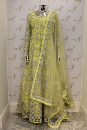 Yellow Wedding And Party Outfit With Heavy Silver Gotta Work And Diamonds
