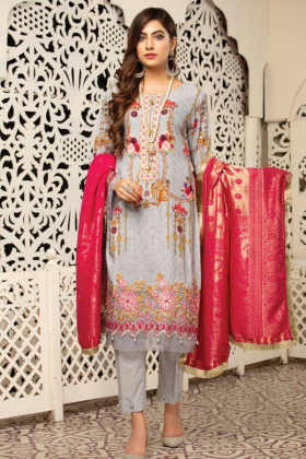 Jaan by Simrans 3 piece linen light grey suit
