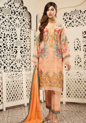 Jaan by Simrans 3 piece peach linen suit