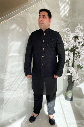 Men's black suit with a luxury embroidered waistcoat