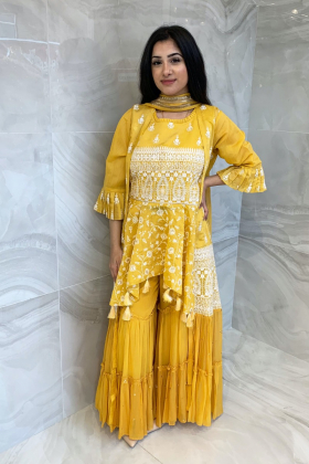 3 Piece luxury peplum embroidered gharara suit in yellow