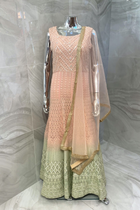 Luxury embroidered gown in baby pink