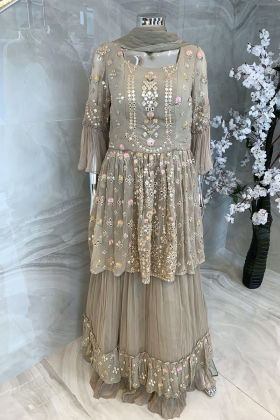 3 Piece chiffon embroidered beige lengha suit
