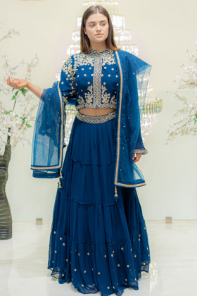 3 Piece embroidered lengha choli in turquoise