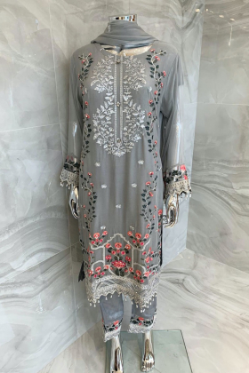 3 Piece chiffon luxury embroidered grey suit