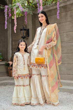 Ivana kids 3 piece luxury lawn embroidered gharara suit in beige