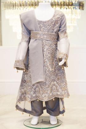 3 Piece light grey embroidered maxi dress