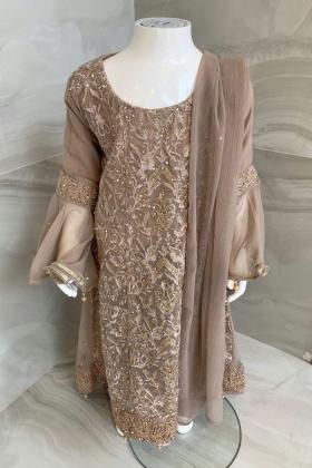 3 Piece kids luxury chiffon embroidered maxi dress in beige