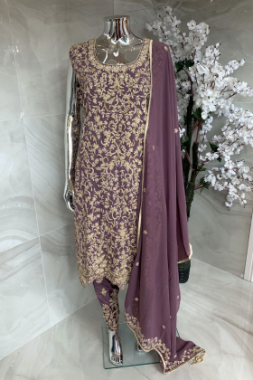 3 Piece luxury embroidered suit in purple
