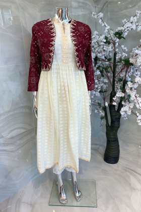 Ethnic lawn white kurta with maroon printed jacket