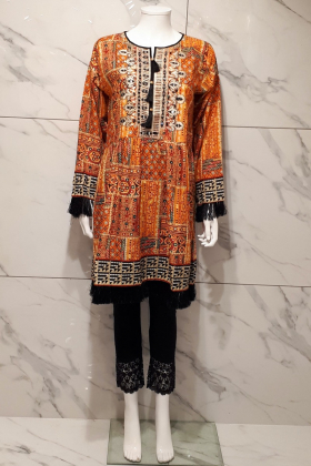 Beautiful printed kurta in orange