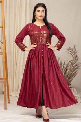 Luxury embroidered casual linen kurti in maroon