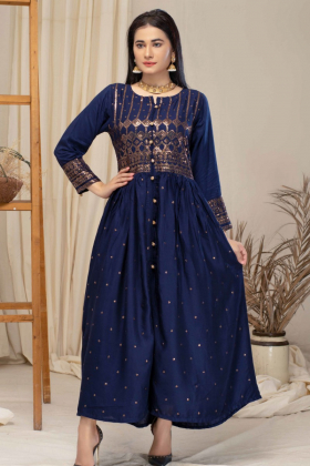 Luxury embroidered casual linen kurti in navy