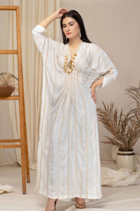 Luxury embroidered kaftan style kurti in cream