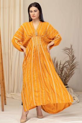 Luxury embroidered kaftan style kurti in mustard