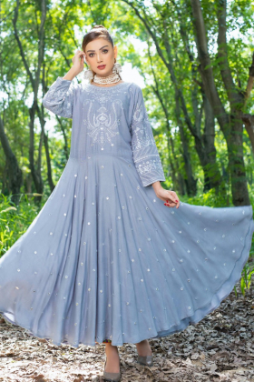 Ethnic casual linen embroidered kurti in grey