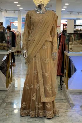 Gold luxury lengha saree