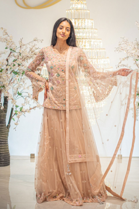 Beautiful 3 piece peach embroidered lengha suit