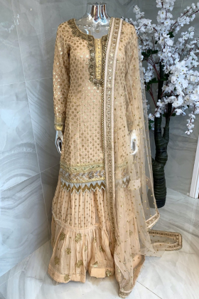 3 Piece sequence embroidered lengha suit in beige