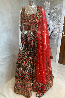 3 Piece luxury embroidered lengha choli in black