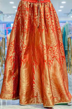 Silk material orange lengha