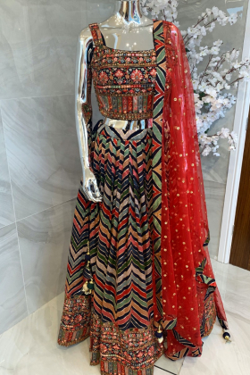 3 Piece luxury embroidered lengha choli in navy