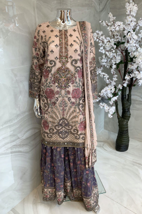 3 Piece chiffon embroidered gharara suit in pink