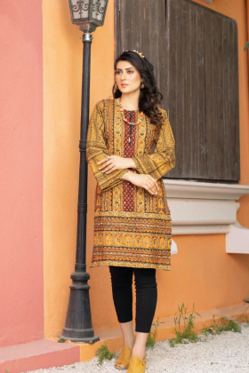 Handwork embroidered lawn kurta in mustard