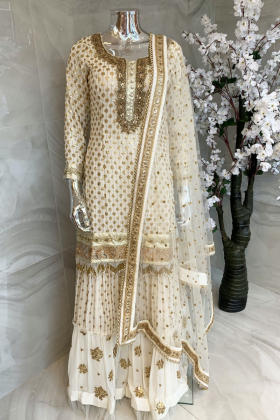 3 Piece sequence embroidered lengha suit in cream