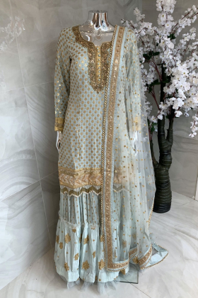 3 Piece sequence embroidered lengha suit in light mint