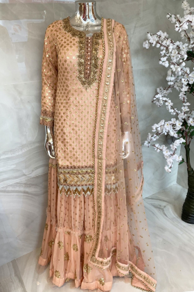 3 Piece sequence embroidered lengha suit in peach