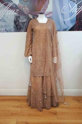 Light brown thread and stone work bridal lengha set