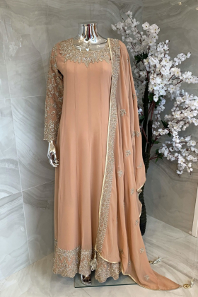 2 Piece luxury embroidered chiffon long dress in peach