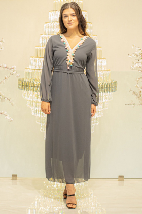 Chiffon long grey dress