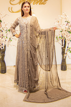 Grey three piece jacket style gown with embroidery