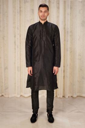 Men's raw silk phatani shalwar kameez in black