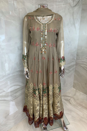 3 Piece luxury long embroidered dress in khakhi
